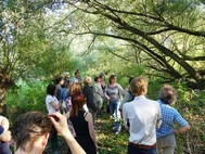 19 workshop-participants are listening to the guide in the jungle at Heuckenlock